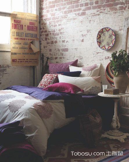 卧室咖啡色背景墙简约风格装修设计图片