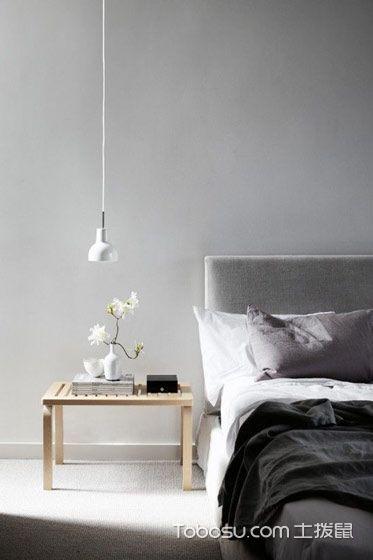 卧室灰色背景墙简约风格装潢效果图
