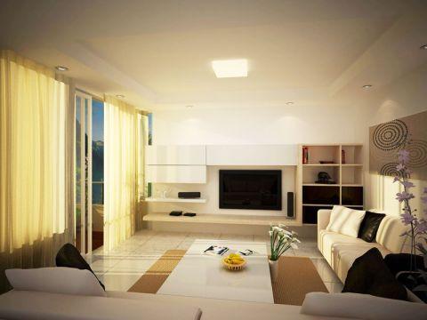 现代简约客厅窗帘装修效果图欣赏