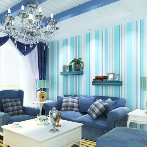 客厅蓝色配景墙置物架室内装修图片