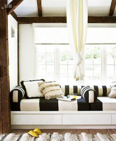 低调优雅混搭白色飘窗设计