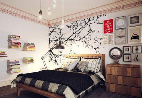 卧室白色背景墙装修实景图片