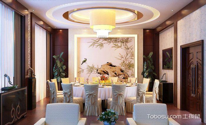 2020现代中式餐厅效果图 2020现代中式背景墙装修图