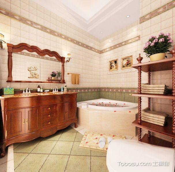 卫生间红木色浴室柜美式风格装饰效果图