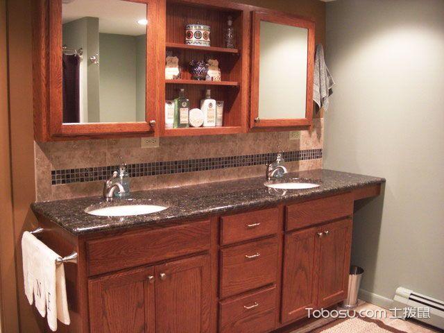 卫生间红木色浴室柜美式风格装饰图片
