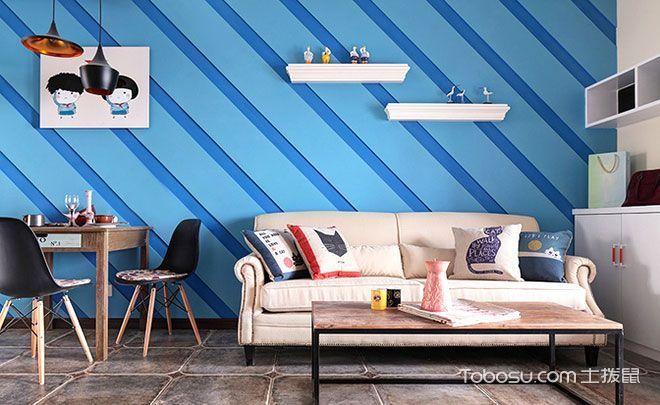 徜徉蓝色海风 12款蓝色客厅背景墙推荐