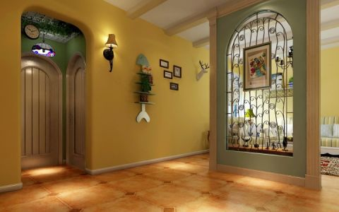 客廳黃色屏風隔斷設計效果圖