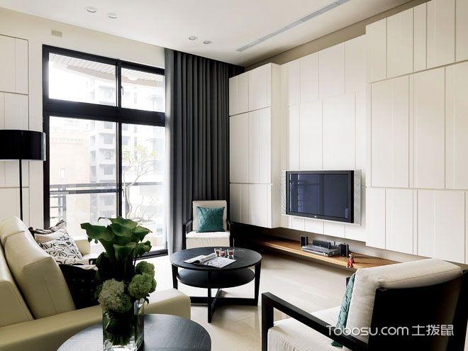 2018现代简约客厅装修设计 2018现代简约电视背景墙装修设计图片