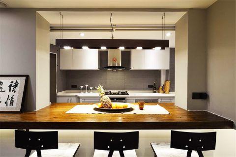 厨房原木色吧台装潢图片