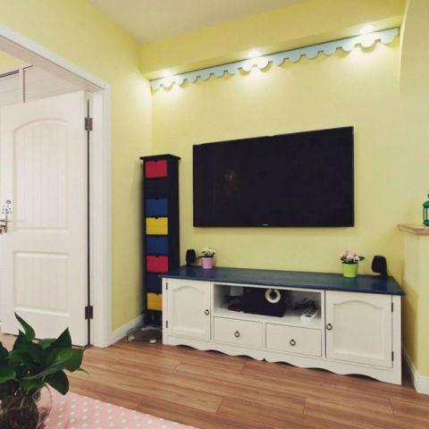 2018田园客厅装修设计 2018田园电视柜装修效果图片