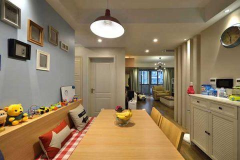 餐厅原木色餐桌效果图图片