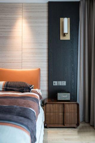 卧室背景墙现代装潢实景图