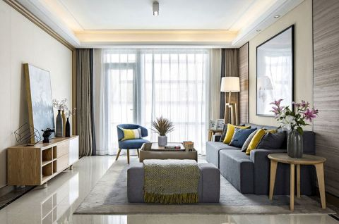 雅致深蓝色沙发家装设计