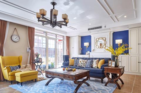 美轮美奂美式蓝色沙发案例图片