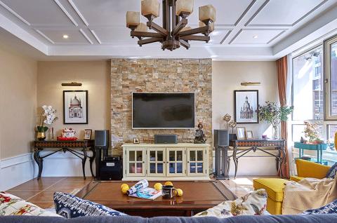 客厅吊顶美式装修效果图欣赏