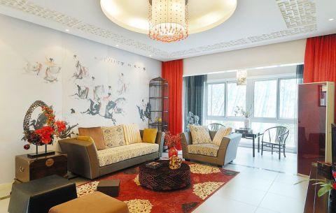 客厅窗帘中式装修设计