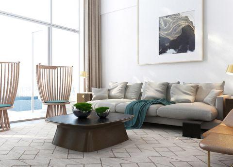 客厅灰色沙发实景图