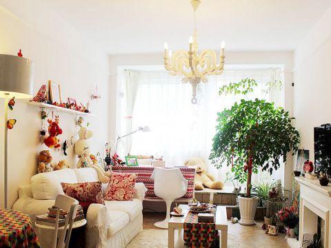 客厅吊顶田园装饰实景图