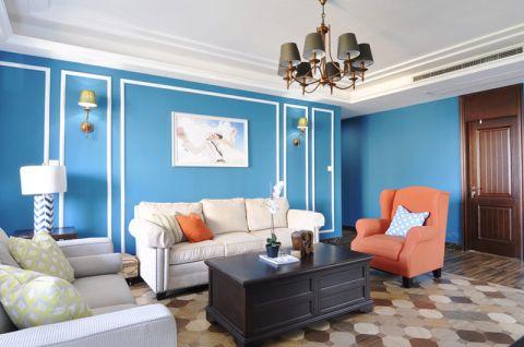 低调优雅蓝色背景墙装修图片