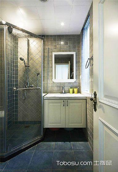 卫生间米色浴室柜美式风格装修效果图