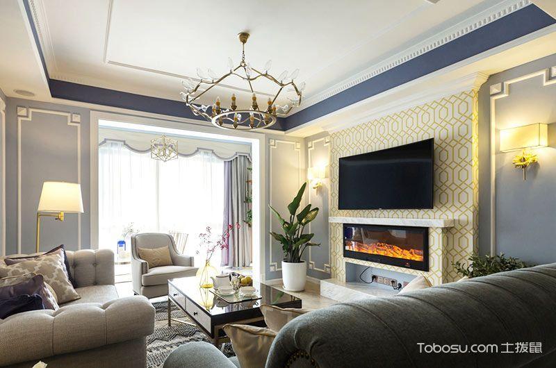 2018美式客厅装修设计 2018美式电视背景墙装修设计图片
