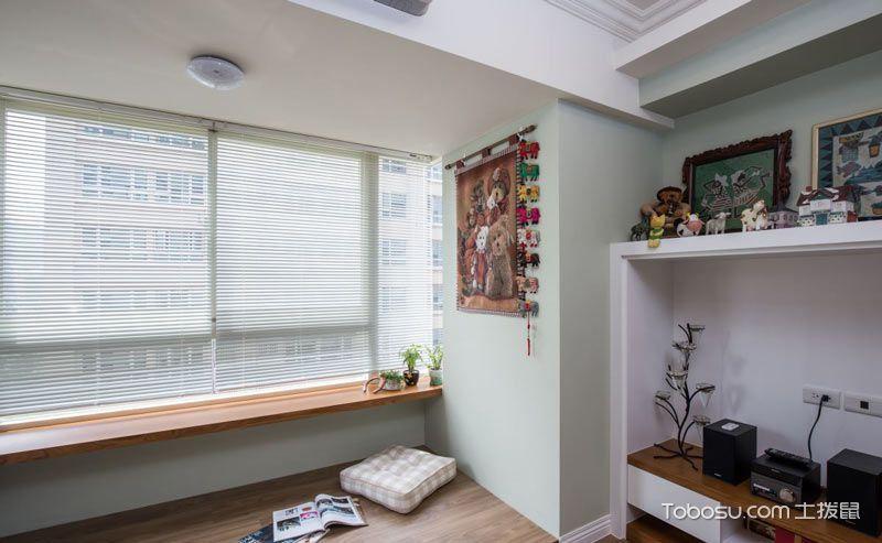 80平米房子装修案例 蓝绿色微甜的温馨小家