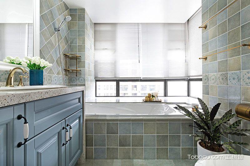 卫生间蓝色浴室柜美式风格装潢图片