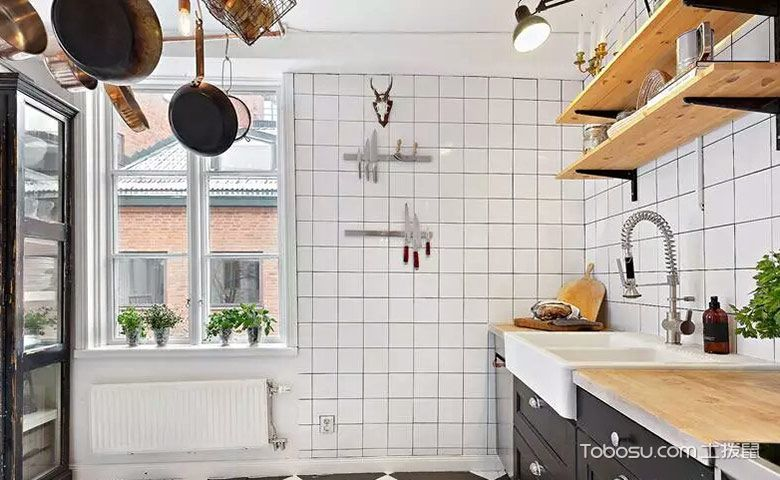 厨房白色背景墙混搭风格装修效果图