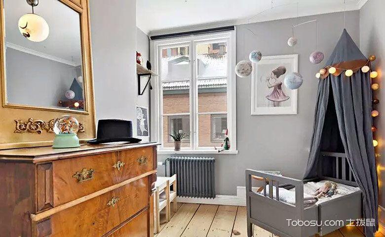 儿童房灰色背景墙混搭风格装修图片