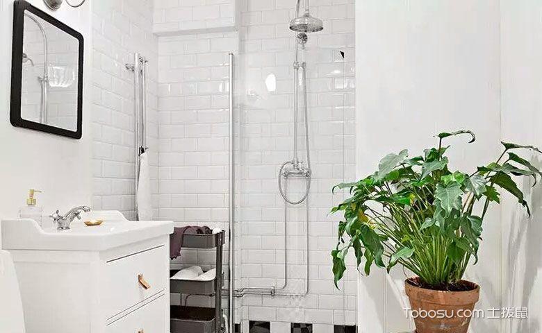 卫生间白色背景墙混搭风格装饰图片