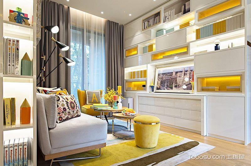 客厅灰色窗帘现代简约风格效果图