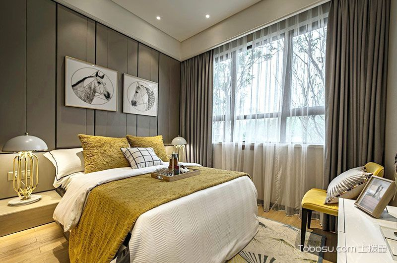 卧室灰色窗帘现代简约风格装修图片