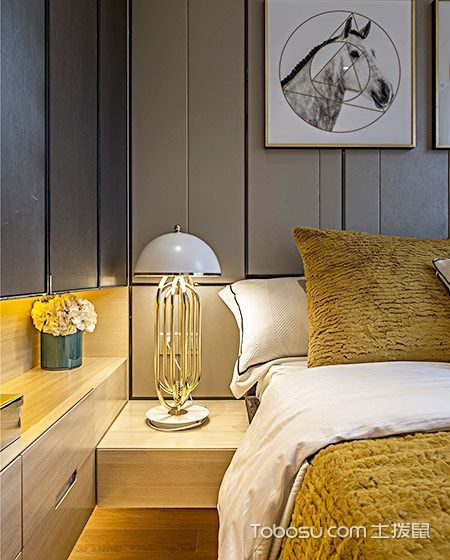 卧室灰色背景墙现代简约风格装饰图片