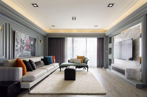客厅地板美式装修实景图片