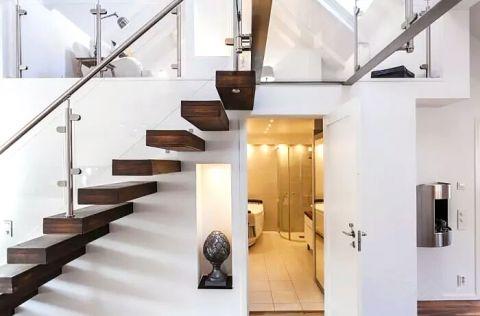 玄关咖啡色楼梯效果图图片
