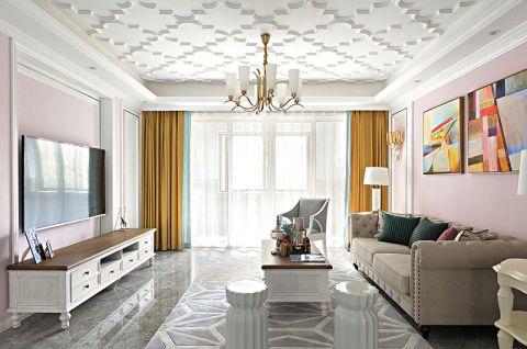 客厅窗帘法式效果图图片