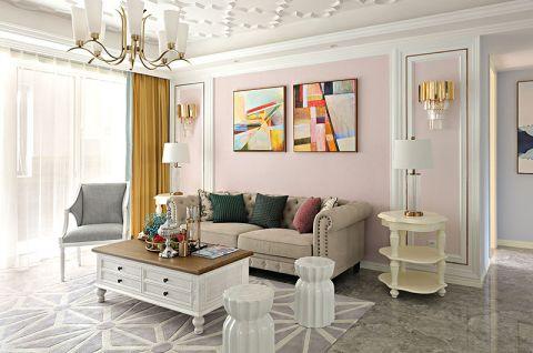 客厅粉色背景墙设计图片