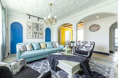 客厅淡蓝色沙发室内装修图片