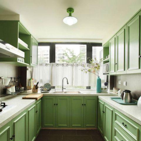 厨房绿色橱柜装修实景图片