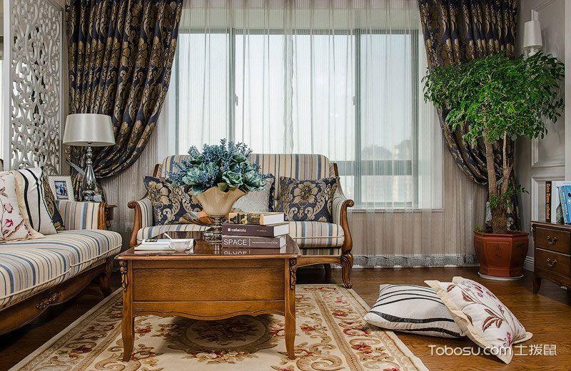 2021古典客厅装修设计 2021古典窗帘装修效果图片