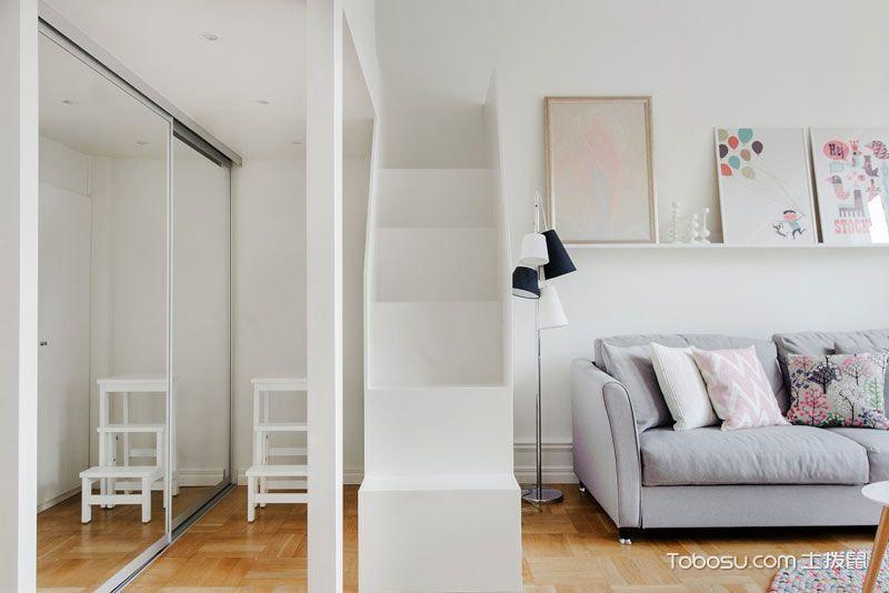 粉白色收纳公寓 42平米北欧小户型装修