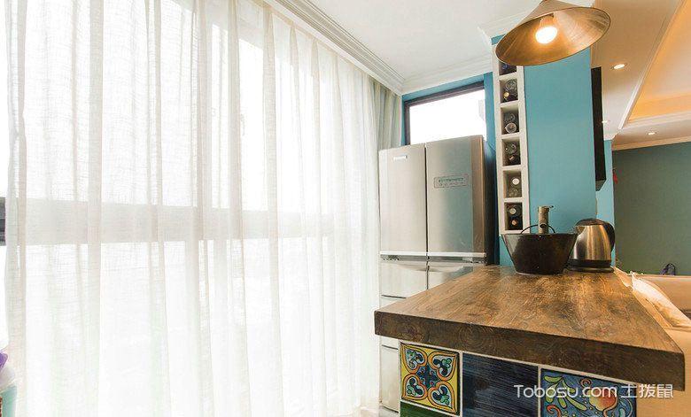 蔚蓝色美家 105平米美式装修效果图