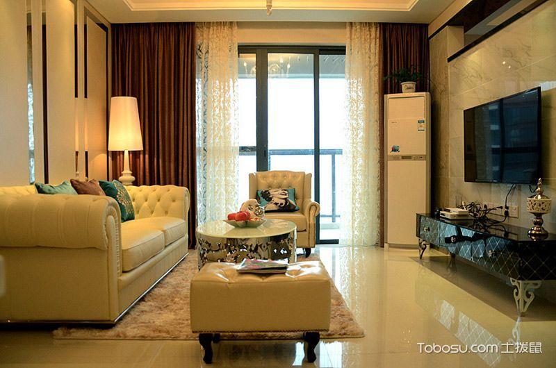兼具摩登与奢华 77平简欧风格两居室设计