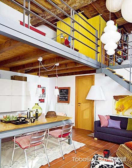 餐桌社交新模式 85平二层复式楼装修图