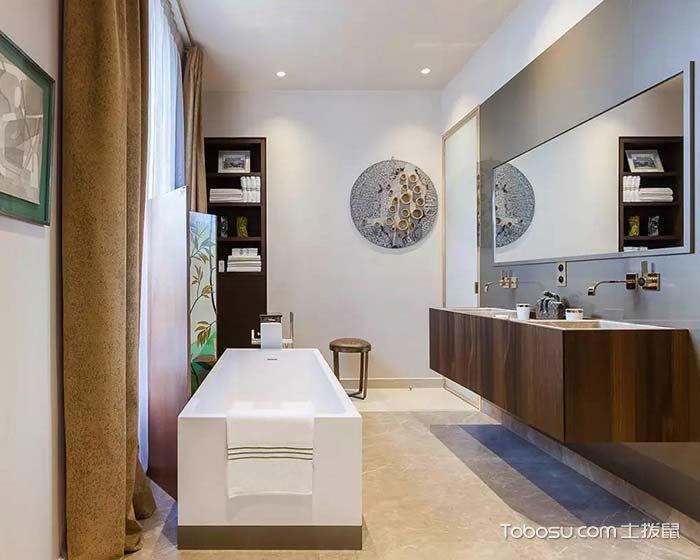 2018混搭浴室设计图片 2018混搭浴缸装修效果图大全