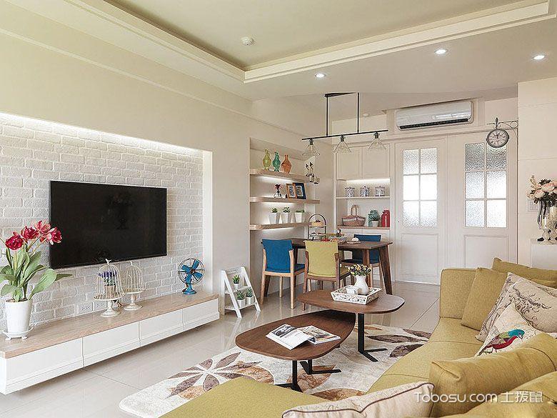 客厅白色电视背景墙现代风格装修图片