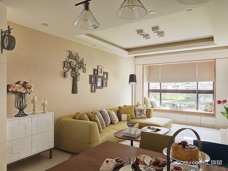 客厅白色灯具现代风格装修设计图片