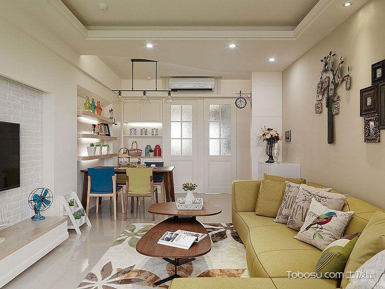 客厅原木色茶几现代风格装饰设计图片