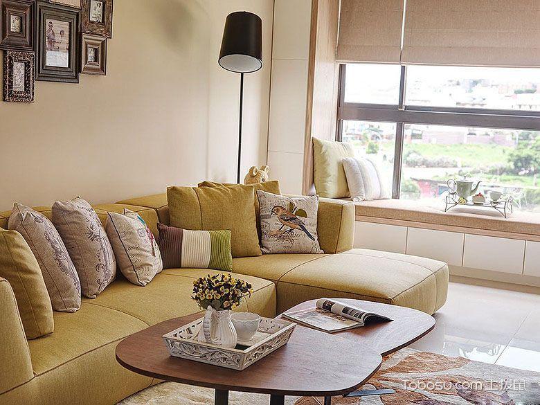 客厅黄色沙发现代风格装潢图片