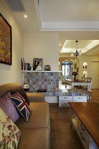 质朴客厅米色储物柜配景墙设计图
